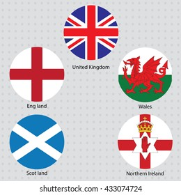 United Kingdom collection flags and national emblems of England Northern Ireland Wales Scotland vecter 1