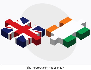 United Kingdom and Cote Divoire Flags in puzzle isolated on white background