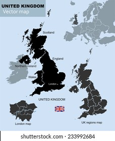 United Kingdom countries, UK regions and London vector map