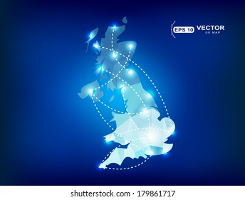 United Kingdom country map polygonal with spot lights places
