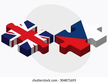 United Kingdom and Czech Republic Flags in puzzle isolated on white background
