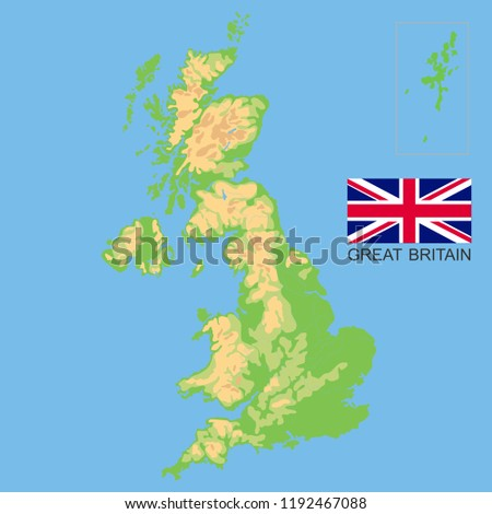 Map Of Uk Mountains And Rivers.United Kingdom Detailed Physical Map Great Stock Vector Royalty