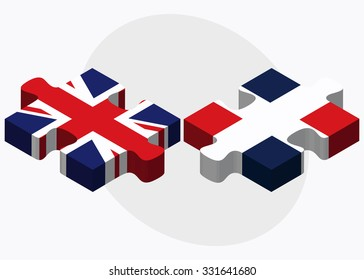 United Kingdom and Dominican Republic Flags in puzzle isolated on white background