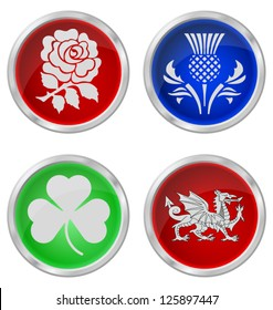United Kingdom emblem buttons isolated on white background