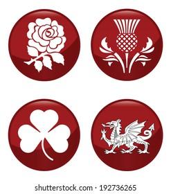 United Kingdom emblem red button set isolated on white background