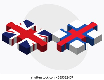 United Kingdom and Faroe Islands Flags in puzzle isolated on white background