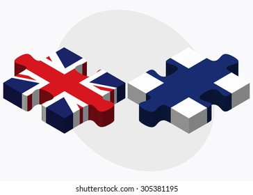 United Kingdom and Finland Flags in puzzle isolated on white background