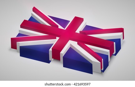 United Kingdom flag in 3D, vector