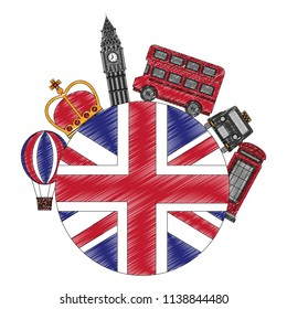 united kingdom flag big ben bus taxi crown and booth telephone