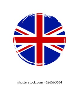 United Kingdom  flag, brush stroke background. Grunge style vector icon.