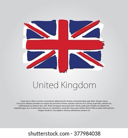 United Kingdom Flag with colored hand drawn lines in Vector Format
