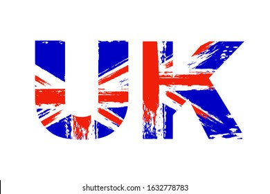 United Kingdom flag in letters, vintage British Union Jack, Great Britain grunge flag, UK text, isolated on white background, vector illustration.