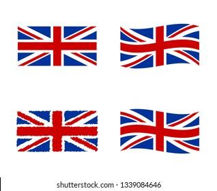 United Kingdom flag, national symbol of the Great Britain - Union Jack, UK flag set