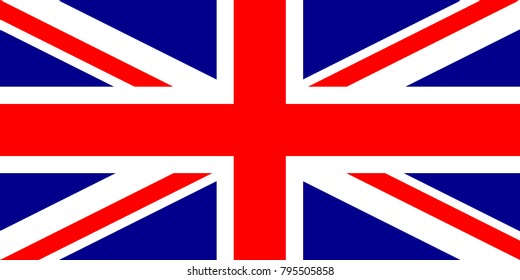 United Kingdom flag with official colors and the aspect ratio of 1:2. Great Britain flag with correct proportions and color scheme. UK flag. Flat vector illustration.