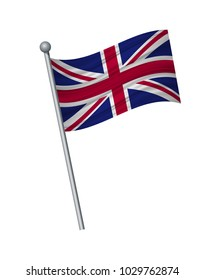 United Kingdom flag on the flagpole. Official colors and proportion correctly. waving of United Kingdom flag on flagpole, vector illustration isolate on white background.
