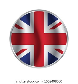 United Kingdom flag round icon. UK flag icon with accurate official color scheme. Premium quality british flag in circle. Vector EPS 10.