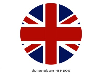United Kingdom flag round icon. UK flag icon with accurate official color scheme