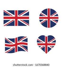 United Kingdom flag set  in grunge style, oval, circular and heart shape. vector icon Illustration