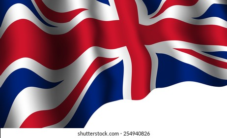 United Kingdom flag with shades waving isolated on white background. Great Britain national symbol. Vector illustration.
