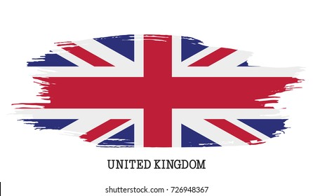 United Kingdom flag vector grunge paint stroke