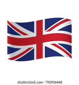 United Kingdom Flag, Vector illustration waving United Kingdom flag vector icon isolated on white background. United Kingdom of Great Britain flag button.