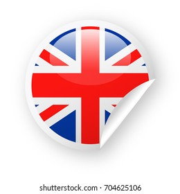 United Kingdom Flag Vector Round Corner Paper Icon - Illustration