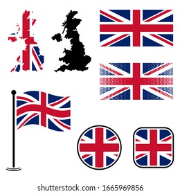 United kingdom flags and map set vector