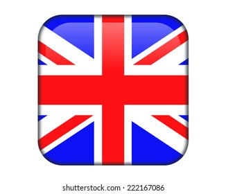 United Kingdom glossy rectangle button