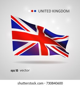 United Kingdom, Great Britain 3D style glowing flag fluttering on the wind. EPS 10 vector created using gradient meshes isolated on light background. Shiny design element from world flags collection