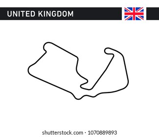 United Kingdom, Great Britain, British, race track, circuit for motorsport and auto sport. Vector illustration road.