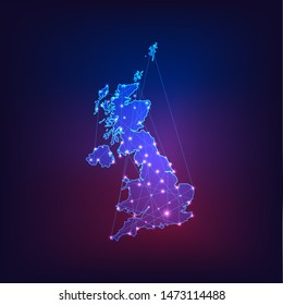 United Kingdom of Great Britain and Northern Ireland map outline. Communication, connection concept.Modern futuristic low polygonal, wireframe, lines and dots design. Vector illustration.