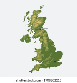 United Kingdom of Great Britain and Northern Ireland vector map. isolated vector color physical map with relief and rivers