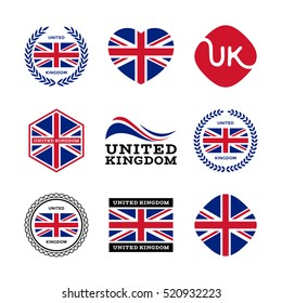 United Kingdom, Great Britain, UK - collection of vector flags, icons, labels, stickers and badges