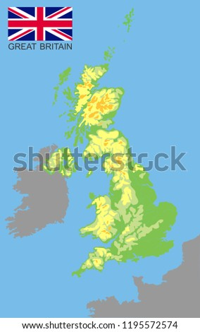 Map Of France Rivers And Mountains.United Kingdom Great Britan Bordered By Stock Vector Royalty Free