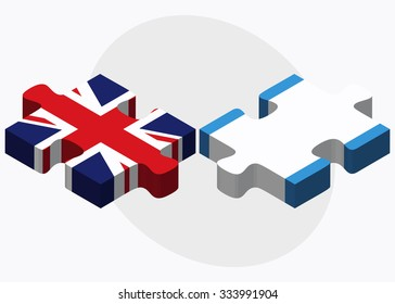 United Kingdom and Guatemala Flags in puzzle isolated on white background