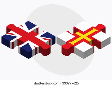 United Kingdom and Guernsey Flags in puzzle isolated on white background