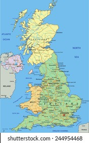 United Kingdom - Highly detailed editable political map with separated layers.