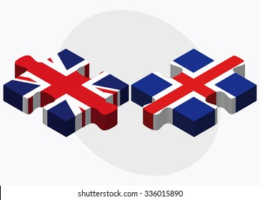United Kingdom and Iceland Flags in puzzle isolated on white background