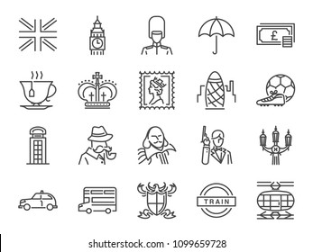 United Kingdom icon set. Included the icons as tea time, British pound, London taxi, queen, flag, bus, Big ben tower and more