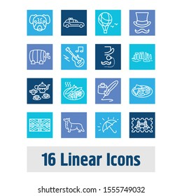 United kingdom icon set and tea set with monocle, gentleman and british stamp. Airship related united kingdom icon vector for web UI logo design.