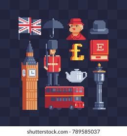 United Kingdom icons. British theme. Pixel art. Symbols of English culture. 8-bit sprite. Sticker design. Isolated vector illustration.