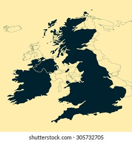 United Kingdom and Ireland Map with Europe vector Map background
