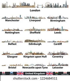 United Kingdom largest cities skylines vector set. Flags of United Kingdom,  England, Scotland, Wales and Northern Ireland