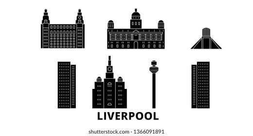 United Kingdom, Liverpool flat travel skyline set. United Kingdom, Liverpool black city vector panorama, illustration, travel sights, landmarks, streets.