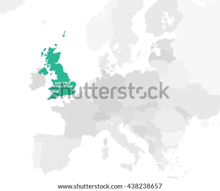 United Kingdom Location Modern Detailed Map Stock Vector (Royalty