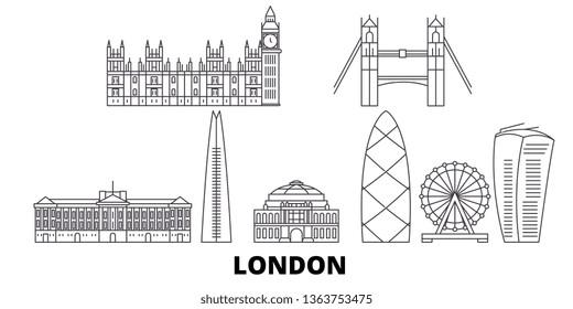 United Kingdom, London line travel skyline set. United Kingdom, London outline city vector illustration, symbol, travel sights, landmarks.