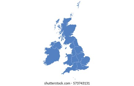 United Kingdom map blue color