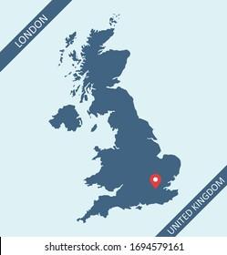 United Kingdom map with capital location London