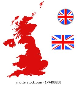 United Kingdom map, England flag and glossy button