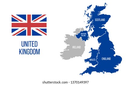 Map Of Ireland And Wales.Uk Map In Flags Scotland Northern Ireland Wales Images Stock Photos